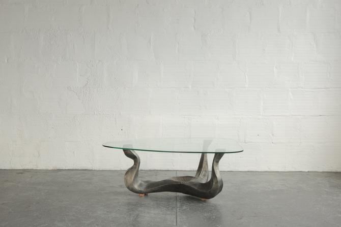 Sculptural Metal and Glass Coffee Table