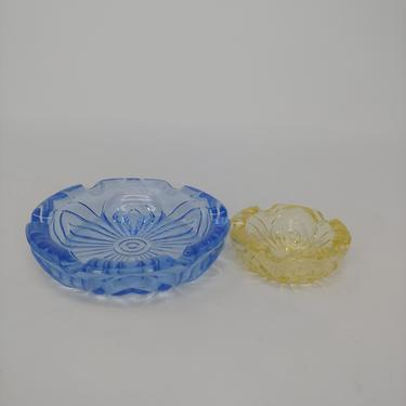 Vintage Cut Glass Pair of Ashtrays - Yellow and Blue Glass Ashtray Dishes by JanetandJaneVintage
