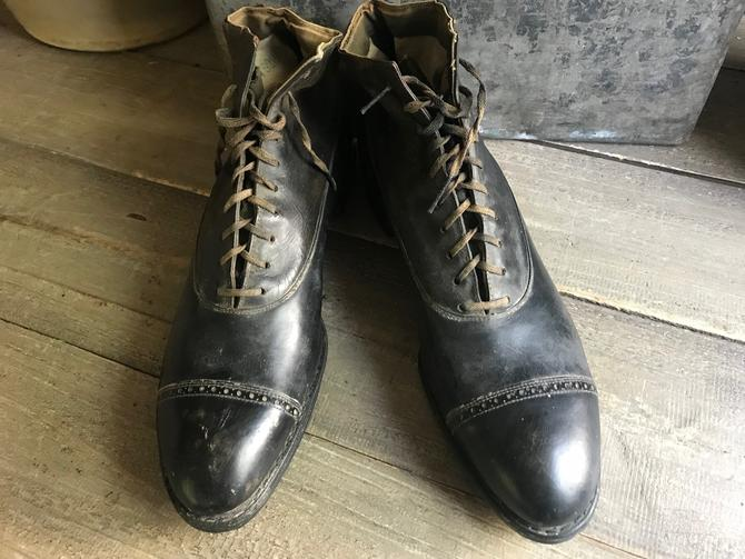 Edwardian Oxford Ankle Boots, Black leather, Lace Ups by JansVintageStuff