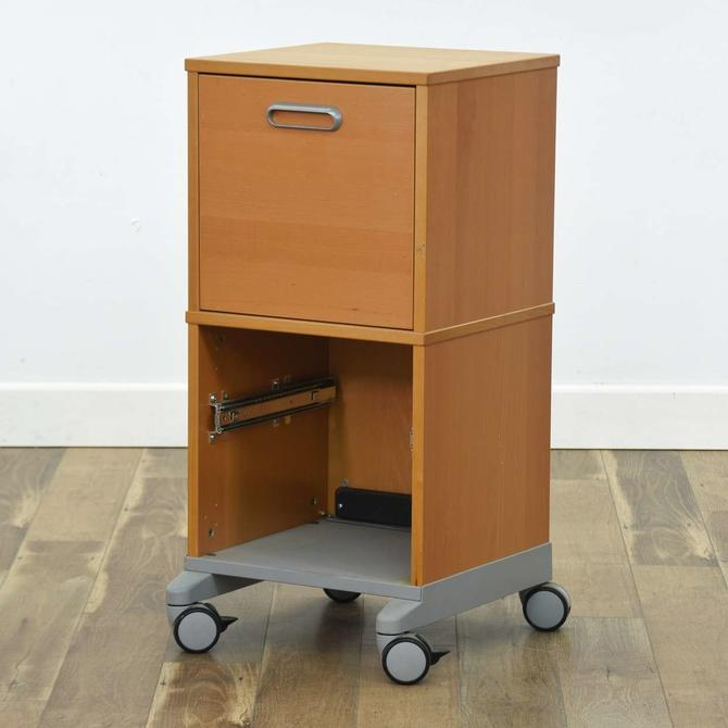 Contemporary File Cabinet W Casters