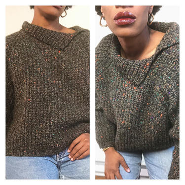 Vintage 1980s 1990s 80s Marled Sweater Cut Away Collar Speckled Chunky Knit Boxy Oversized Crop Cropped GAP Pullover by KeepersVintage