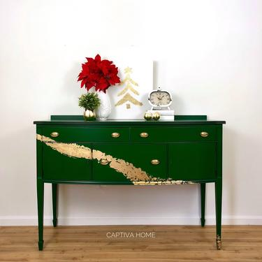 Emerald Green & Gilded Golden Wave Buffet- Painted- Metallic- Dining Room Furniture- Sideboard- Server- Buffet- Fancy- Refinished- Upcycled by CaptivaHomeDecor