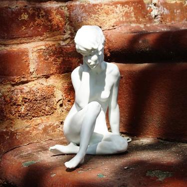 "Vintage Signed W. Gawantka Kaiser Nude Woman In Meditation Porcelain Figurine #489, German Matte White Porcelain Bisque Statue, 9"" H by shopGoodsVintage"