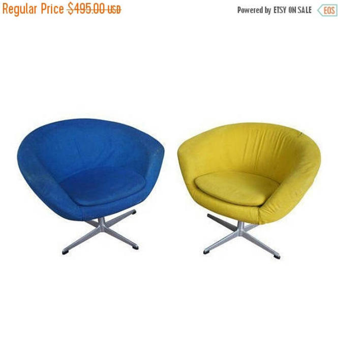 30% OFF Overman Sweden Pod Chairs in Chartreuse and Cerulean Wool by MetronomeVintage