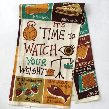 Mid Century Towel By Carl Tait  Watch Your Weight, Linen Kitchen Towel, Wall Hanging, Personal Trainer Foodie Gift by luckduck