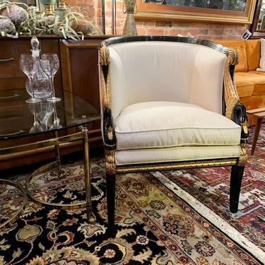 Hollywood Regency swan chairs (pair) with brass & glass side / end table