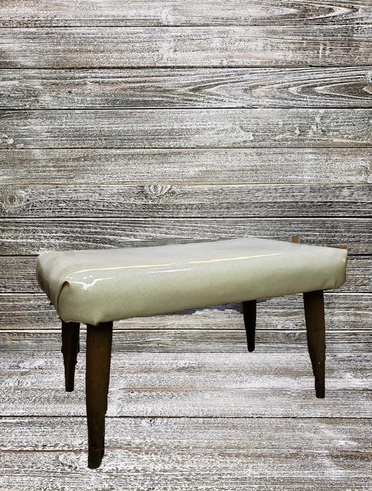 Vintage 1950's Footstool, Reupholstered Mid Century Vinyl Stool, White Glitter Vinyl Ottoman, Danish Modern Stool, Vintage Furniture by AGoGoVintage