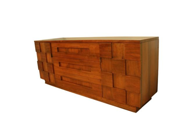 Mid Century Young Manufacturing Co. Brutalist Walnut Credenza Triple Dresser by Marykaysfurniture