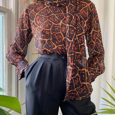 80s YSL Leopard Silk Blouse