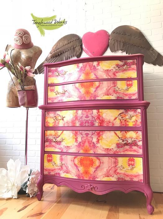 Plum Crazy Kaleidoscope French Provincial Dresser