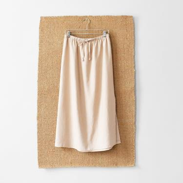 vintage long linen skirt with drawstring waist, size M by ImprovGoods