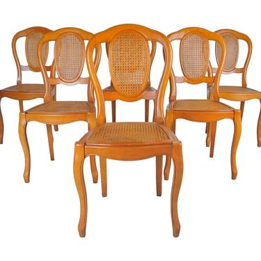 Vintage Set of 6 French Louis XV Caned Birch Dining Chairs by StandOutSpaces