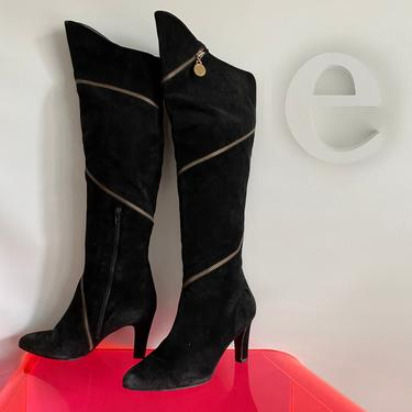 "Stuart Weitzman OTK ""Pirate"" Boots • Black Suede Leather Diagonal Zippers • High Heel • Couture • Runway • Fashion •Designer • Size 7 • by elliemayhems"