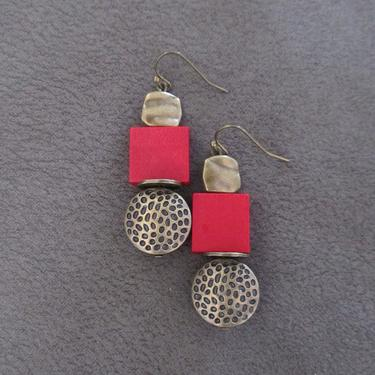 Red wood, bronze animal print earrings, Afrocentric dangle earrings, mid century modern earrings, African earrings, bold statement, unique by Afrocasian