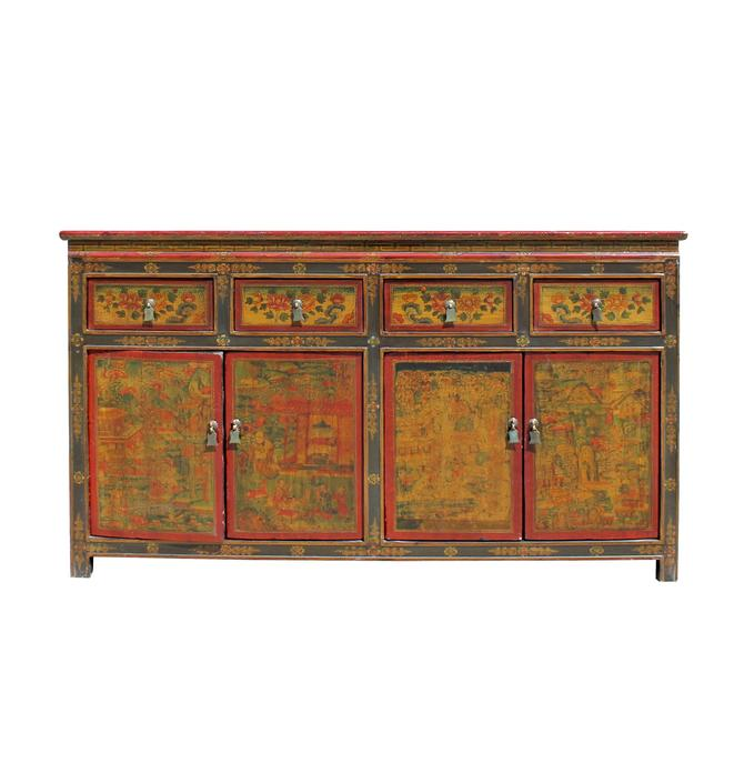 Chinese Tibetan Buddha Teaching Graphic Credenza Sideboard Console Cabinet cs5782S