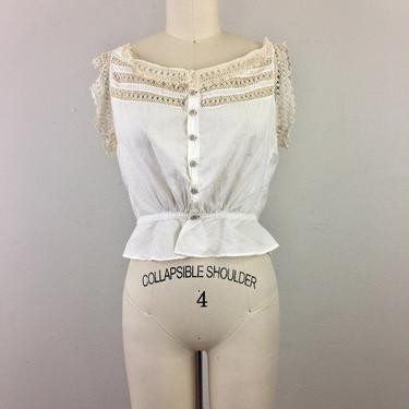 Vintage Antique Victorian Edwardian White Cotton Blouse w/ Lace Trim Camisole Corset Cover M by FlashbackATX