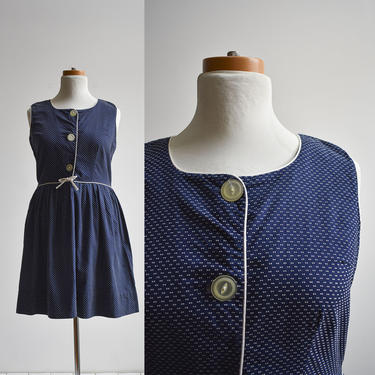 1950s Navy Blue Swiss Dot Day Dress by milkandice