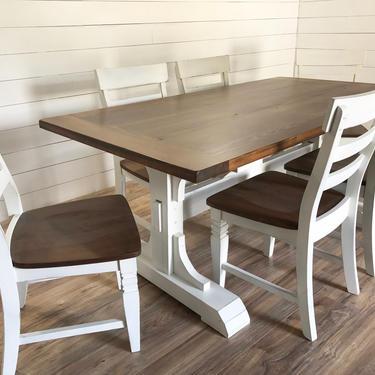 Modern Farmhouse Elegant Trestle Dining Table by HickoryandHaze