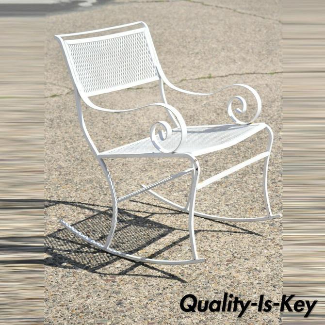 Vintage Mid Century Scrolling Arm Wrought Iron Garden Patio Rocker Rocking Chair