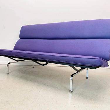 """authentic Herman Miller Charles Eames """"compact sofa"""" upholstered in a grape chenille by AtomicJunkiesGallery"""