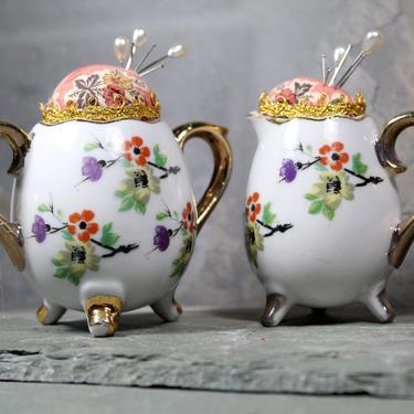 Vintage Ceramic Pin Cushion - Vintage Miniature Creamer & Sugar Bowl by Enesco of Japan - Upcycled Vintage Pin Cushion - Handmade by Bixley
