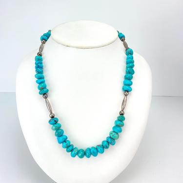 """Vintage Navajo Turquoise Nugget Silver Necklace Southwestern Artisan 20"""" by HouseofVintageOnline"""