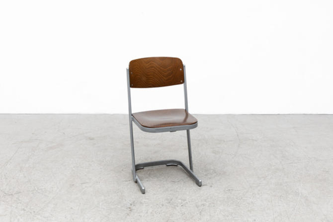Dark Brown Retro Industrial Stacking School Chair with Grey Enameled Frame