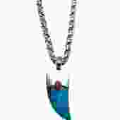 Turquoise and Coral Horn Pendant Necklace