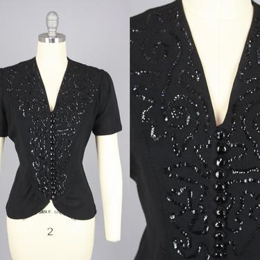 1940s SEQUIN Blouse   Vintage 40s Black Rayon Crepe Top   medium by RelicVintageSF