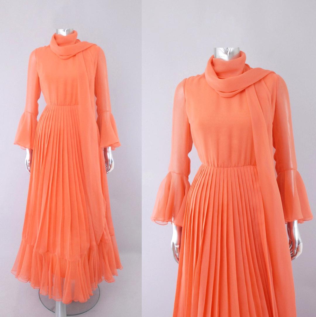 Bill Blass Chiffon Dress, 1970s Maxi Dress, Goddess Dress
