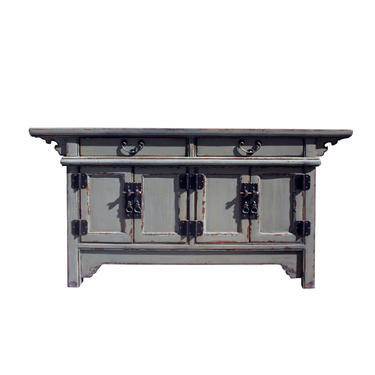 Chinese Distressed Gray Lacquer Low Sideboard Console Table Cabinet cs5899E by GoldenLotusAntiques