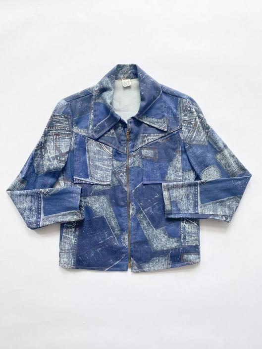 1970s Denim Patchwork Print Zip Jacket by waywardcollection