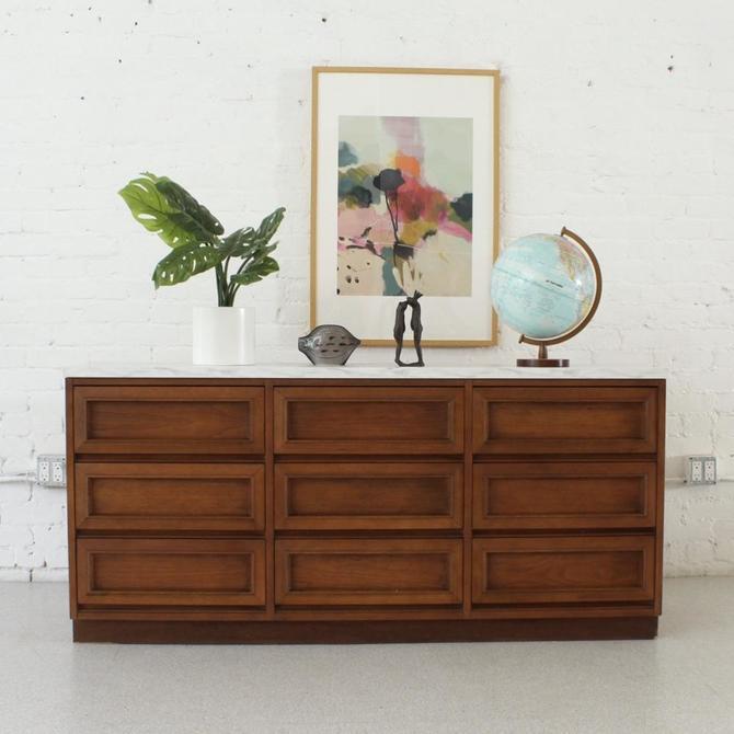 1970's Faux Marble Top Nine Drawer Dresser