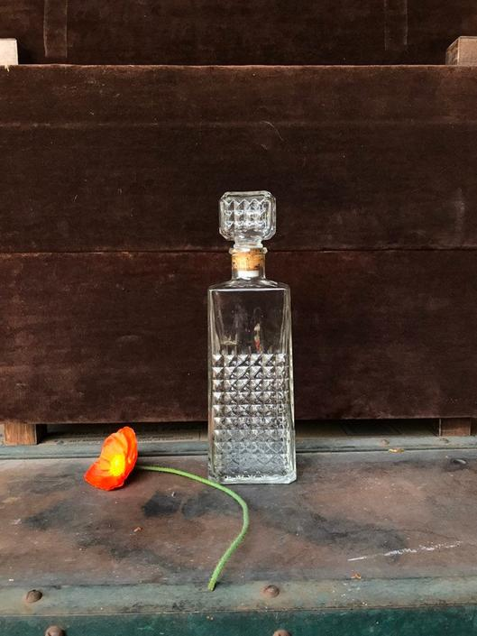 Waffle Decanter Bottle Vintage Clear by BrainWashington