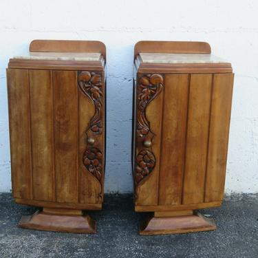Marble Top Art Deco English Pair of Nightstands End Side Bedside Tables 2473