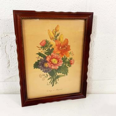 Vintage Framed Floral Print Botanical Wall Art Gallery Chirat 40s 1940s Print Wooden I.B. Fischer Co. Frame Flowers Boho Bohemian Lithograph by CheckEngineVintage