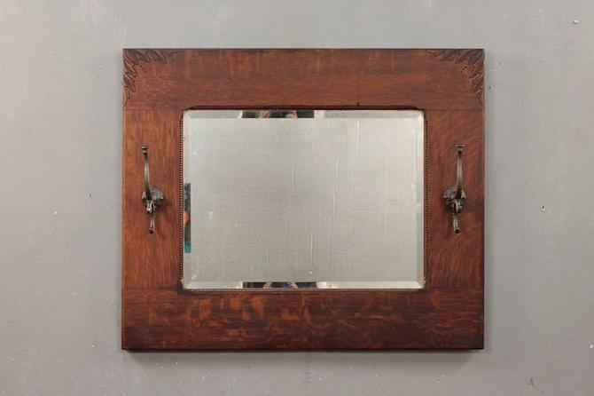 Antique Oak & Iron Beveled Entryway Mirror