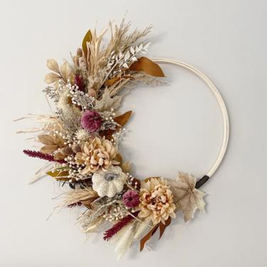 Muted Boho mauve fall wreath, Wheat fall wreath, Neutral Autumn Wreath, Modern Fall Wreath by NovaWreaths