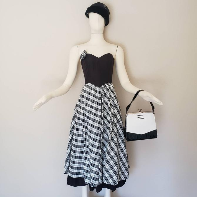 vintage dress gunne sax dress 80s dress party dress prom dress Jessica McClintock dress black and white dress sweetheart neckline plaid by OFSvintage