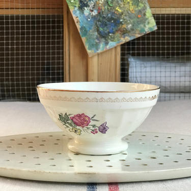 Beautiful vintage French ironstone cafe au lait bowl from a famous maker Digoin- CFB by Grainsacfrenchvintag