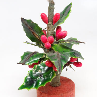 Antique Small Christmas Tree made of Holly Leaves and Berries, Vintage Wood Base, Retro Decor, Doll House by exploremag