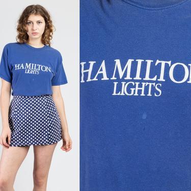 Vintage 80s Hamilton Lights Cigarette T Shirt - Men's Medium | Retro Blue Graphic Promotional Tee by FlyingAppleVintage