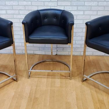 Art Deco Arteriors Calvin Leather with Cowhide Counter Stool - Set of 3