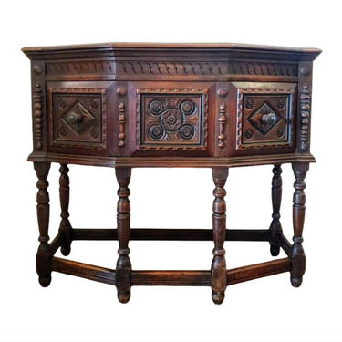 Antique Tudor English Oak Jacobean Renaissance Style Hunt Board - Server - Sideboard One Drawer Chest On Stand Commode Console Hall Table by LynxHollowAntiques