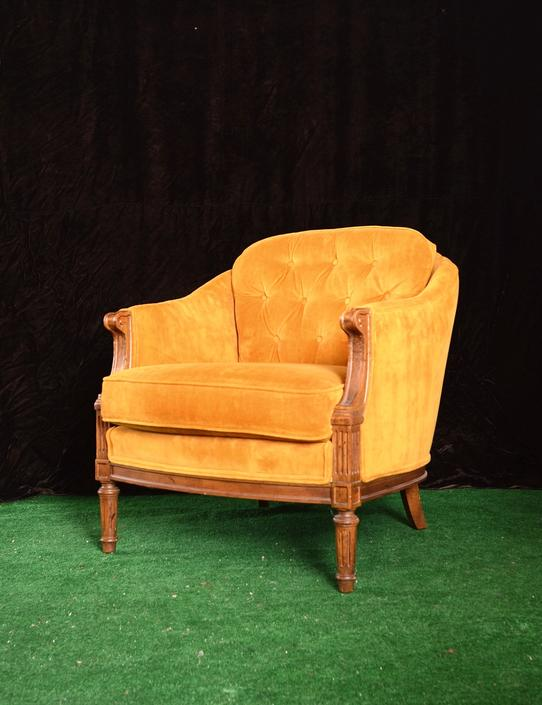 Pair of vintage mustard yellow velvet armchairs by fingerlickingvintage