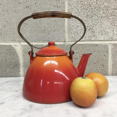 Vintage Tea Kettle Retro 1950s Descoware + Belgium + Cast Iron + Enamelware + Burnt Orange and Flame Red + Servingware + Kitchen Decor by RetrospectVintage215