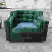 1960's Vintage Green velvet Tufted club chair