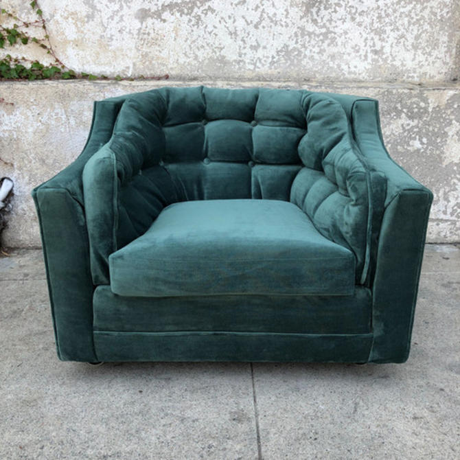 1960's Vintage Green velvet Tufted club chair