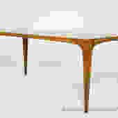 Modern teak or walnut coffee table