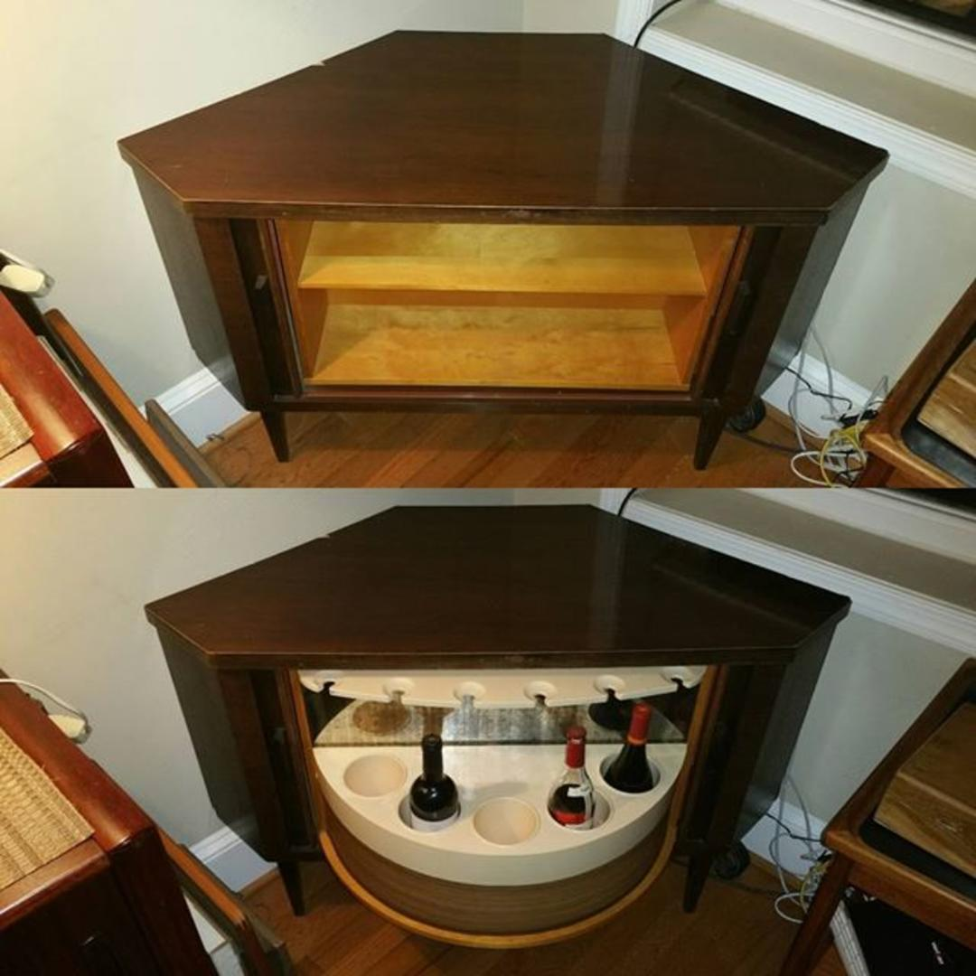 Hidden Bar On A Lazy Susan Corner Cabinet 250 From 20c